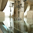 Table with chandelier on it — Foto de stock #3418597