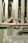 Glass goblets on the table — 图库照片