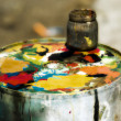 Colorful color mixing palette - Photo