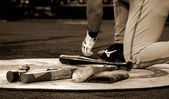 Baseball batter getting ready in batter box — Stock Photo
