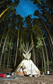 An indian teepee set up in a meadow among pine woods — Stock Photo
