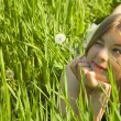 Girl with a Dandelion — Stock Photo