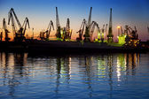 Harbor / Cargo / Silhouette of Cranes at Sunset — Stock Photo