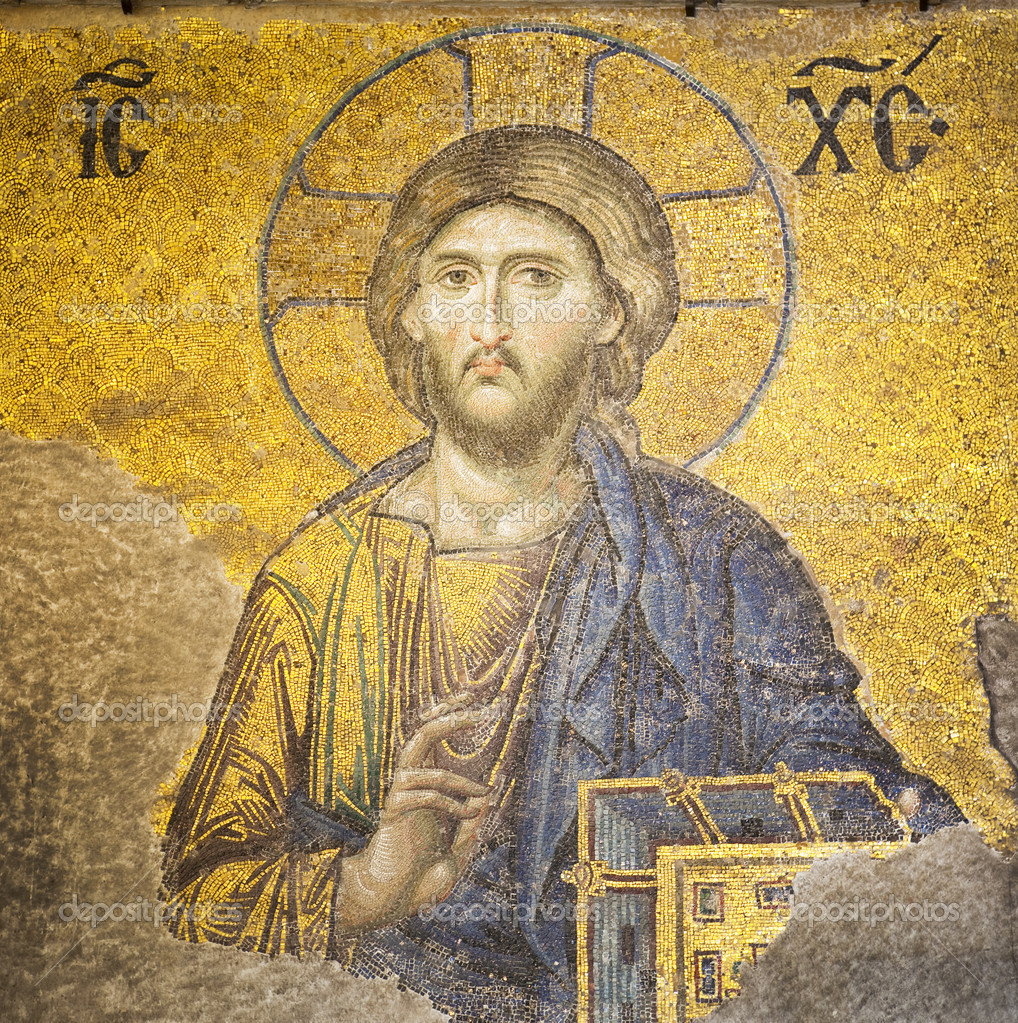 Mosaic of Jesus Christ found in the old church of Hagia Sophia in Istanbul, Turkey.  — Stock Photo #3537231