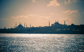 Cityscape of Istanbul / Blue Mosque and Hagia Sofia / split toni — Stock Photo