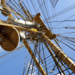 Old sailing boat rigging / mast - Foto Stock