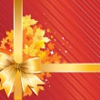 Royalty-Free Stock Vektorfiler: Autumn Background /  Thanksgiving Bow with gold  leaves