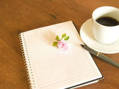 Book, flower and coffee — Stock Photo