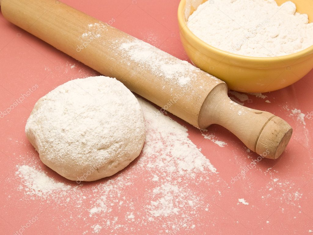 Dough with rolling pin  Stock Photo #3083050