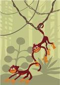 Kleine freche Affen — Stock Vector