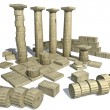 Stock Photo: 3d render of Greek ruins