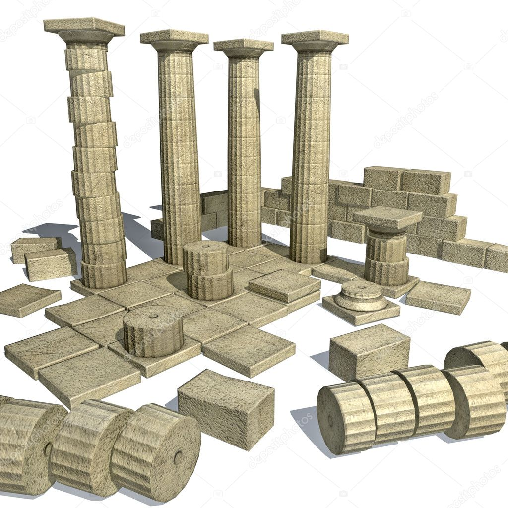 Render of Greek ruins with Parthenon like columns  — Stock Photo #3100000