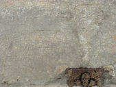 Beige gray damaged crackled wall — Stock Photo