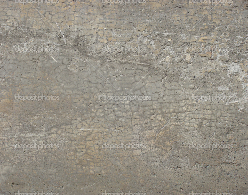 Parete Grigio Beige : Pesantemente incrinato sporco muro grigio beige — foto