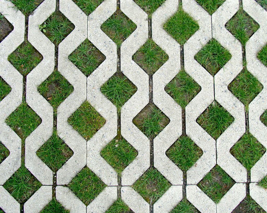Concrete Pattern Combined With Grass Stock Photo