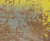 Slate of yellow blue rusted metal — Foto Stock