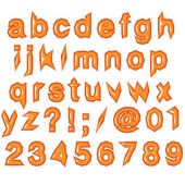 Orange glossy punk techno eighties font — Stock Photo
