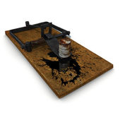 3d trap illustration on oil spill disaster — Foto Stock