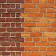 Brick wall with two different colors of bricks - Stock Photo