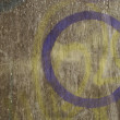 Stock Photo: Purple sprayed circlue on wood timber background