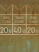 Detail of a rusty plate of metal with numbers on an old train — Stock Photo
