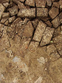 Transition from soil to bricks embedded in soil — Stock Photo