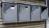 Vandalized mail boxes in a row — Stok fotoğraf