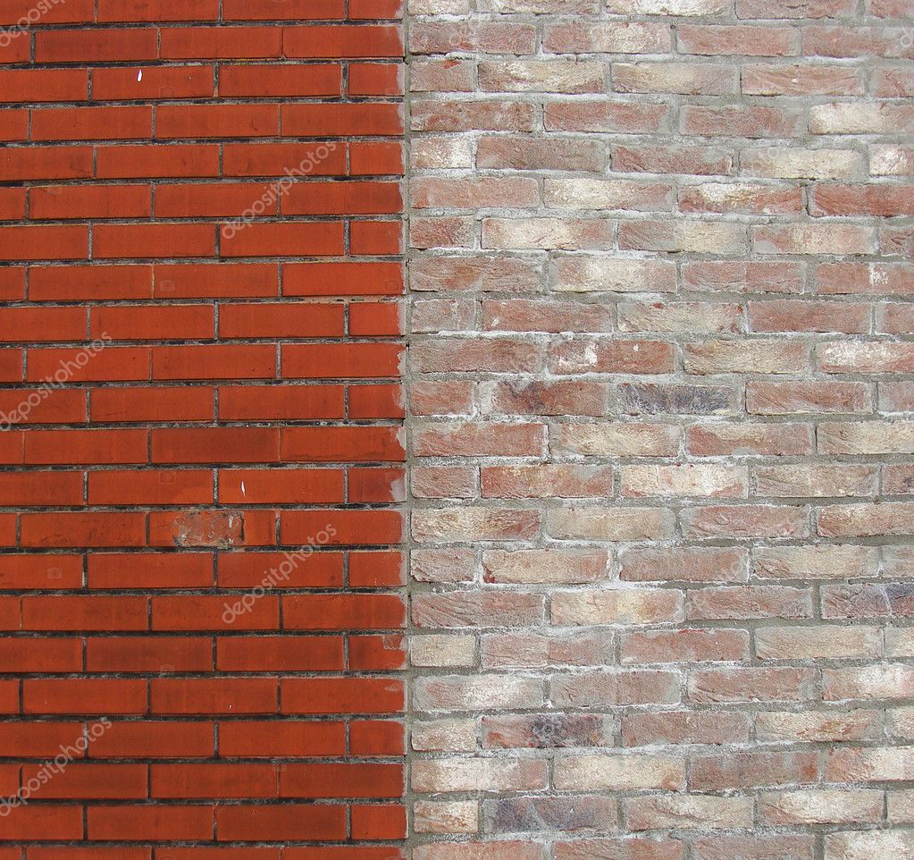 Half pink half red brick wall                                — Stock Photo #3843491
