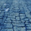 Stock Photo: Close view of blue crackled paint