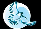 Dove or bird in flight — Stock Vector