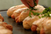Sausage in pastry — Stock Photo