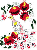 Firebird in colours and with a branch of berries. — Stock Vector