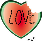 Heart from a water-melon — Stock Vector