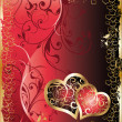 Stockvector : Wedding card with two hearts, vector