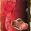 图库矢量图片: Wedding card with two hearts, vector