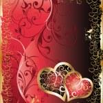 Свадебная открытка с двумя сердцами, вектор — Cтоковый вектор