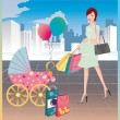 Shopping of the pregnant woman. vector. — Stock Vector