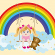 Royalty-Free Stock Vector Image: Girl and rainbow, vector