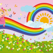 The girl runs on a rainbow. vector - Stock Vector