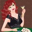 Royalty-Free Stock Vector Image: The green-eyed girl plays poker. vector
