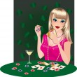 The girl blonde plays poker. vector. — Stock Vector
