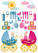 Baby set, vector — Stock Vector