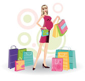 Pregnant woman and shopping bags, vecto — Stock Vector