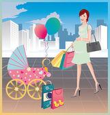 Shopping of the pregnant woman. vector. — Stock Vector
