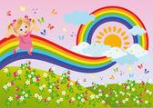The girl runs on a rainbow. vector — Stock Vector