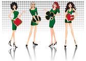 Belles filles avec des signes de poker. vector — Vecteur