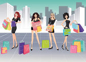 Girls and Shopping. vector — Cтоковый вектор