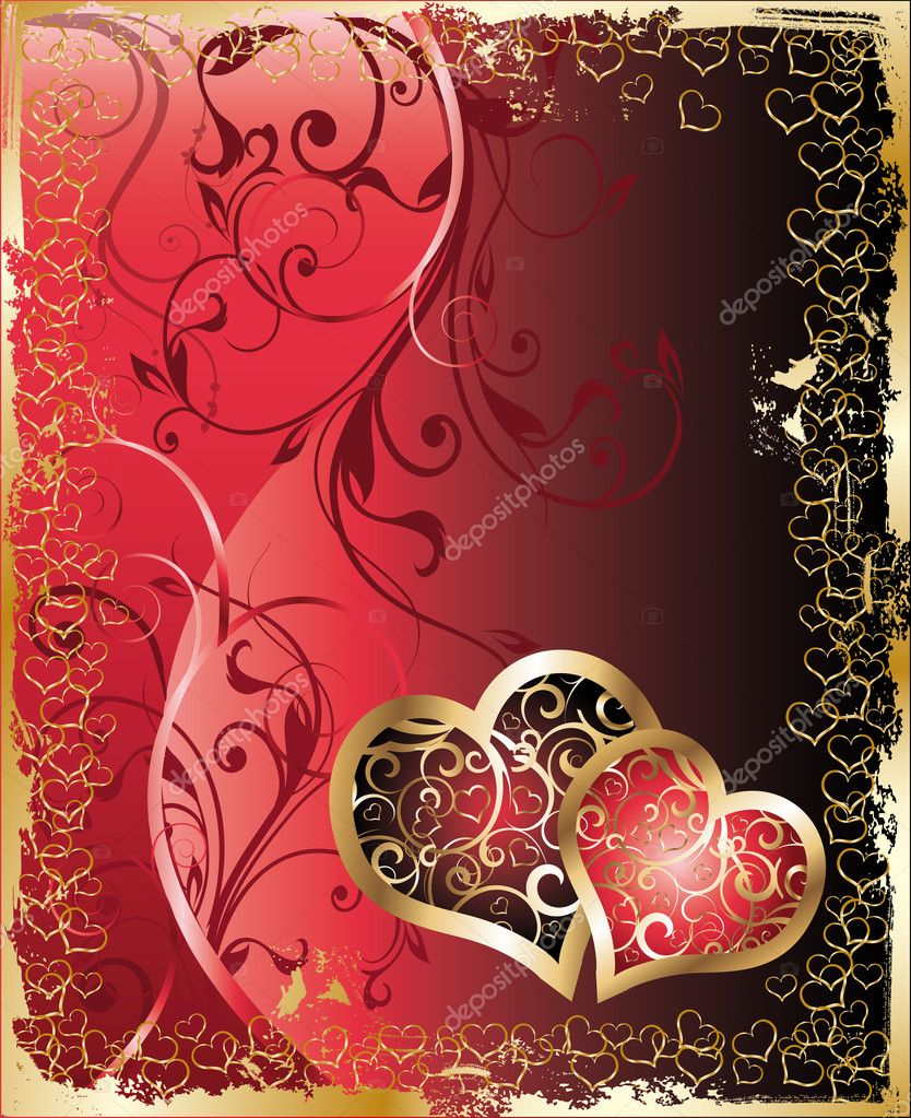 Valentines and wedding card - two hearts with floral ornament, vector     #3014873