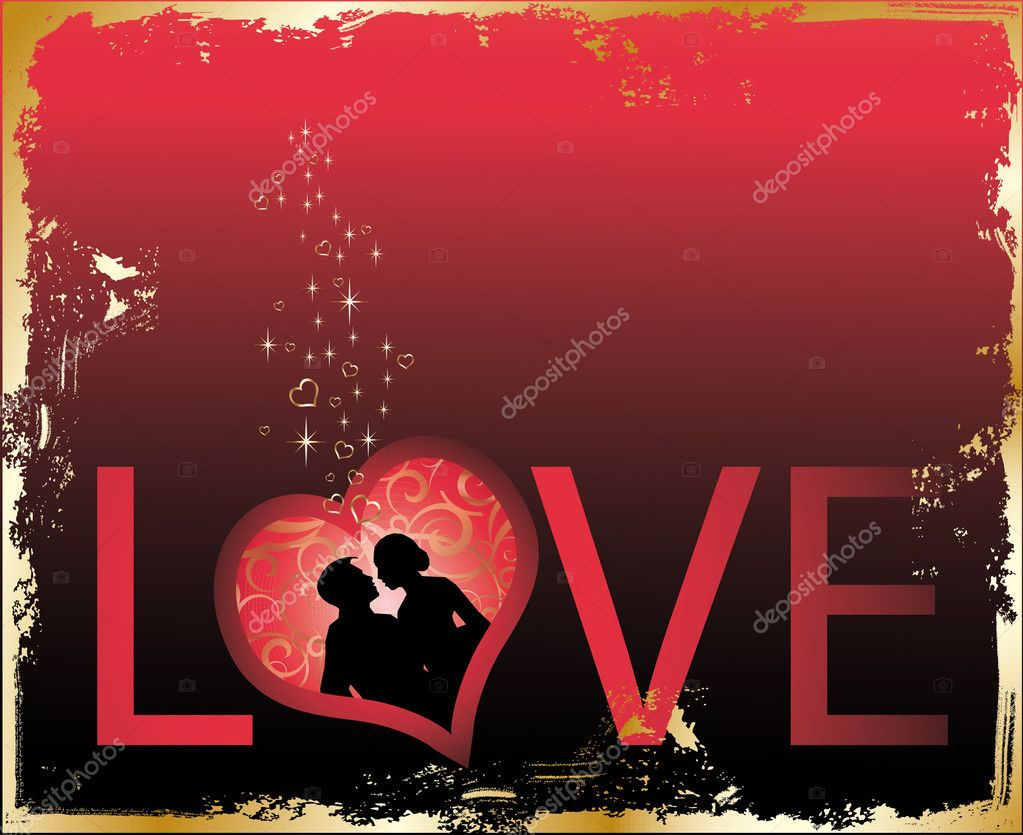 Backgrounds for wedding and valentine´s theme.Red gold  Love card, vector — Stock Vector #3014878