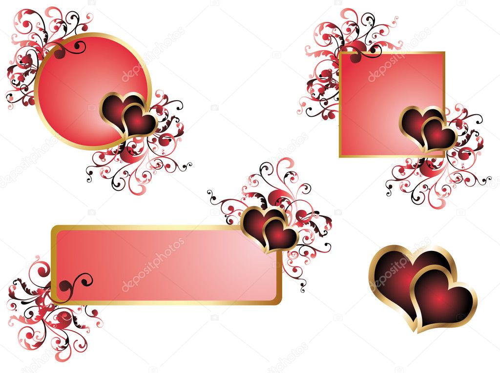 Love wedding banners, vector — Vektorgrafik #3014992